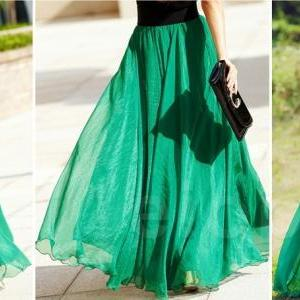 Emerald Green Long Chiffon Skirt Maxi Skirt Ladies Silk Chiffon ...