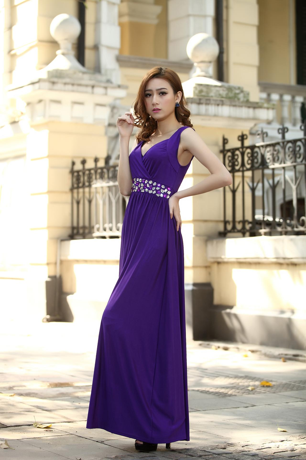 Cadbury purple bridesmaid dress formal cocktail bead prom for Purple maxi dresses for weddings