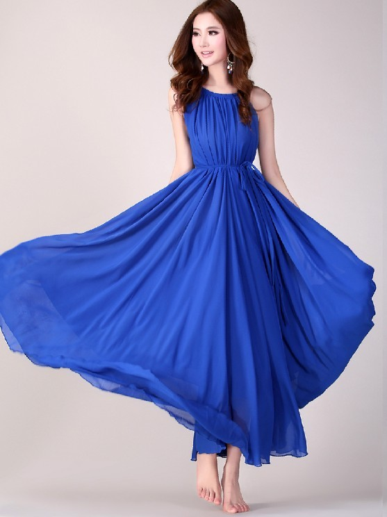 Royal blue long evening wedding party dress lightweight for Blue beach wedding dresses