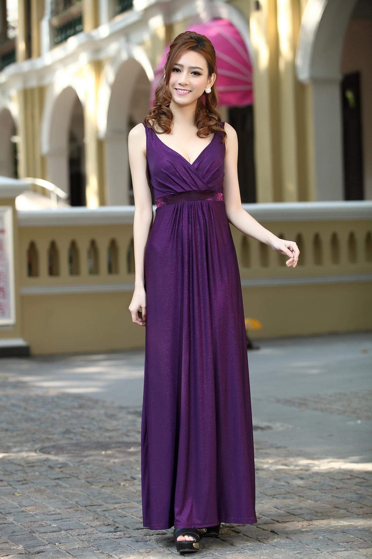 Purple long party formal evening maxi dress bridesmaid for Plus size purple wedding dress