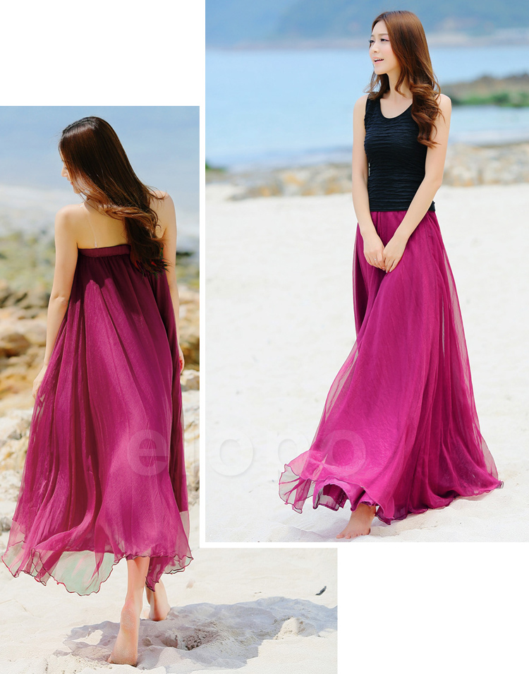 Rose Pink Beach Wedding Bridesmaid Dress, Long Chiffon Dancing ...