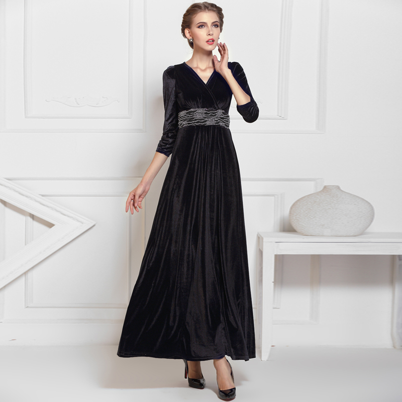 Black Formal Long Velvet Maxi Dress Gown Plus Size Evening Prom ...