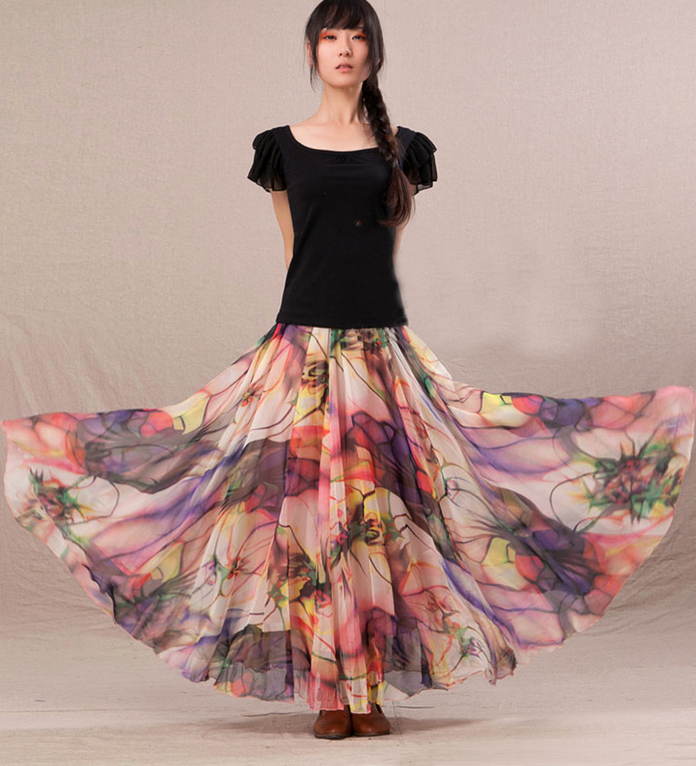 Chiffon Floral Print Lightweight Boho Summer Beach Long Maxi Skirt ...