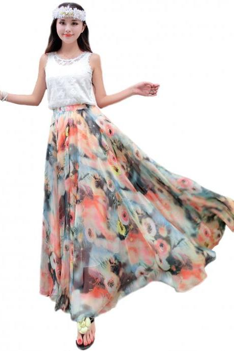 Summer Chiffon Floral Lightweight Boho Summer Beach Long Maxi Skirt Bridesmaid Dress