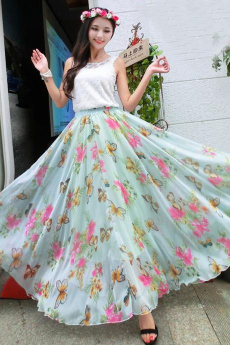 Floral Beach Weding Dancing maxi Causal day shopping Long Chiffon Sundress Skirts