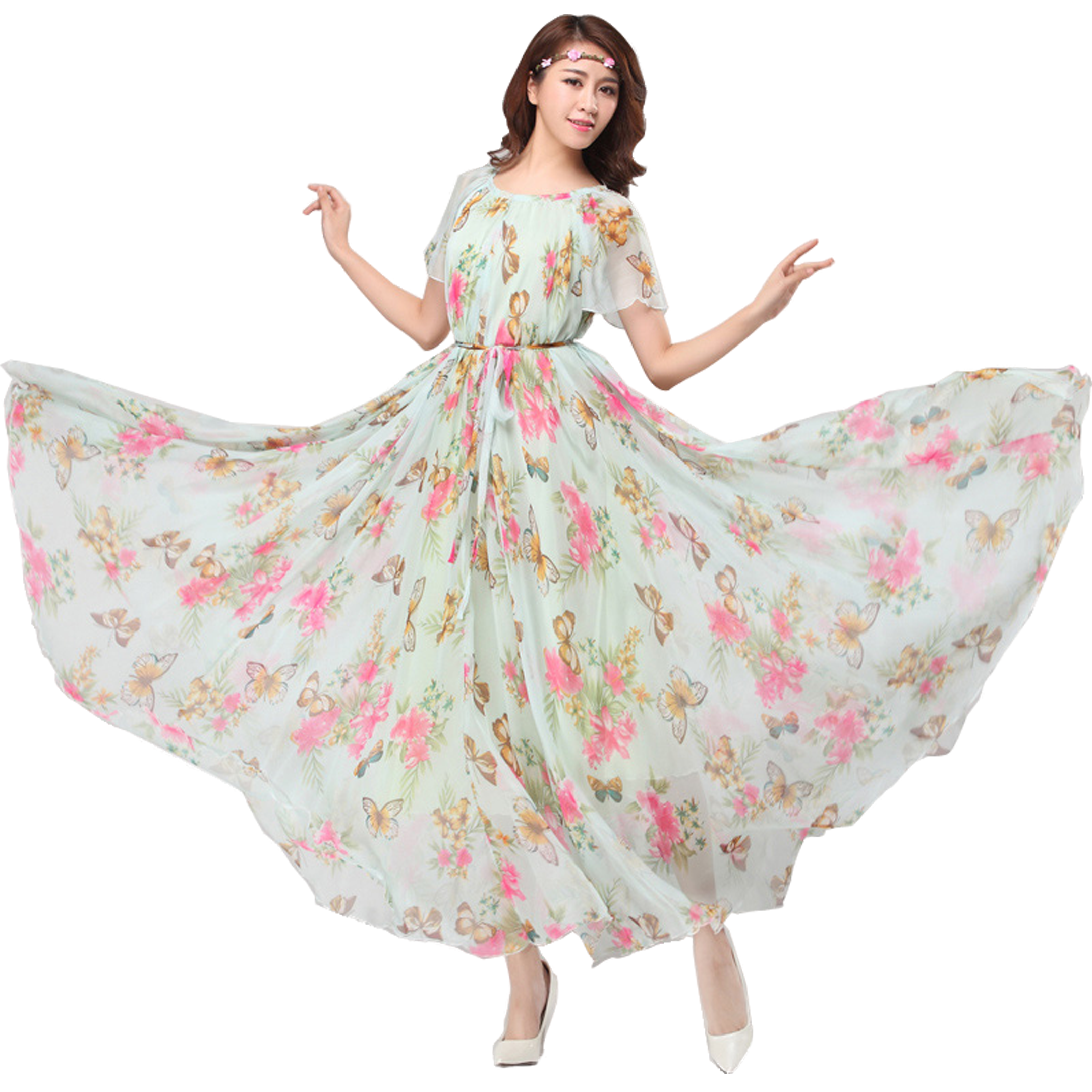 Chiffon Butterfly Sleeves Bridesmaid Holiday Beach Floral Maxi ...