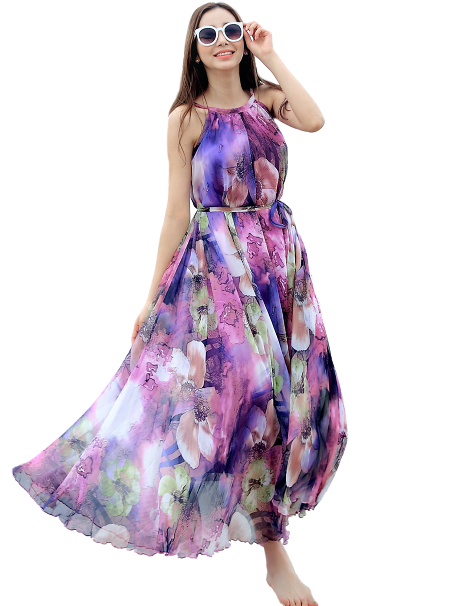 Purple floral long beach maxi dress lightweight sundress for Purple maxi dresses for weddings